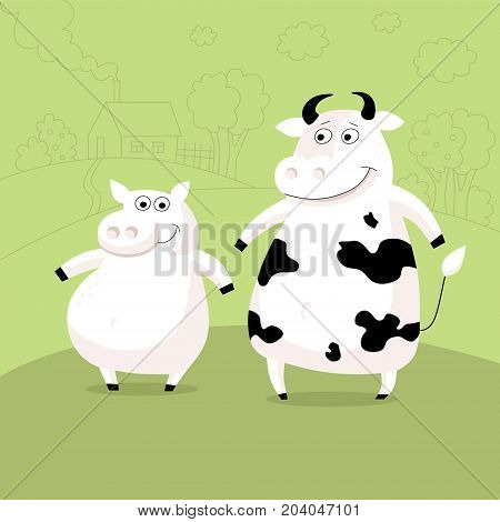 Funny vector illustration of farm animals on green background in cartoon childish style. Two friends humor postcard