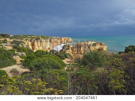 Sea Shore With Beautiful Sandstone Cliffs Green Vagetation