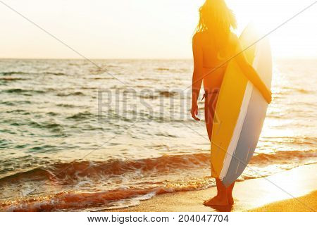 Board woman seacoast surf color person one