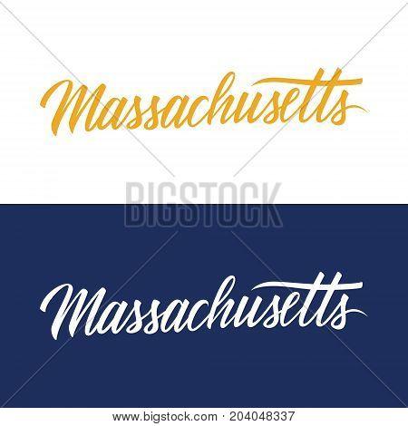 Handwritten U.S. state name Massachusetts. Calligraphic element for your design. Vector illustration.