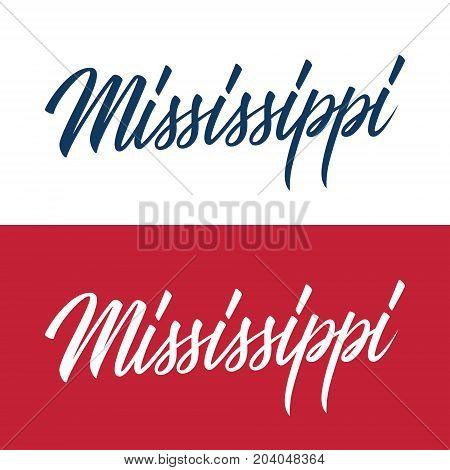 Handwritten U.S. state name Mississippi. Calligraphic element for your design. Vector illustration.