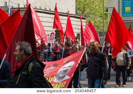 BERLIN - MAY 01 2015: Members of trade unions workers and employees at the demonstration on the occasion of Labour day.