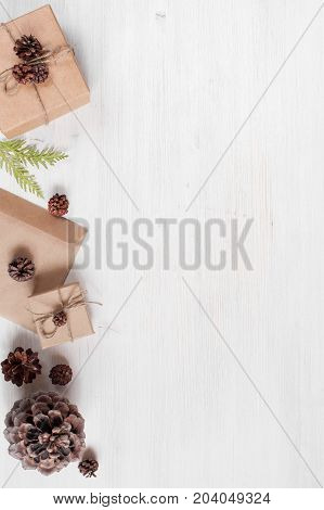 Light Holiday Background With Craft Gift Boxes