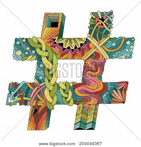 Hand-painted art design. Picturesque colorful zentangle hashtag