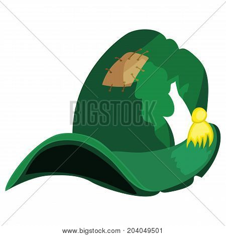 Cartoon Halloween witch hat wizard holiday magic cap costume fantasy october autumn witchcraft vector illustration. Scary magical wear spooky traditional party witchhat accessory.
