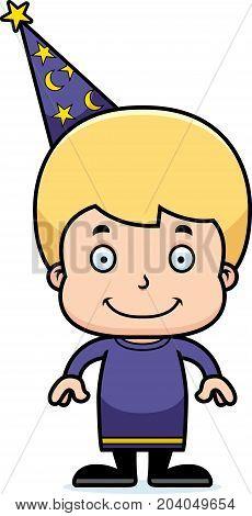 Cartoon Smiling Wizard Boy