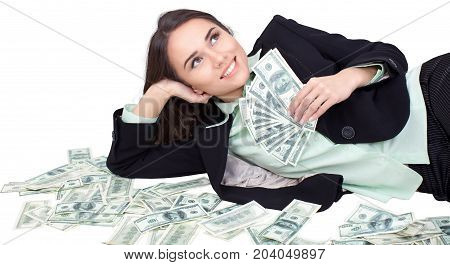Money business young woman businesswoman lot white