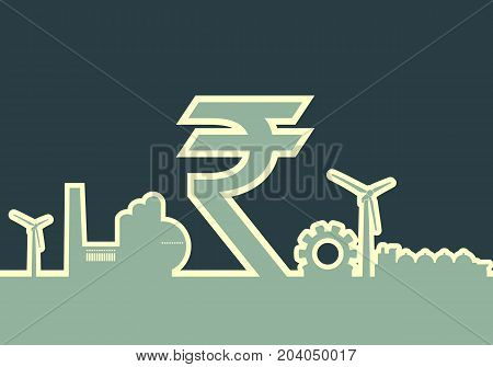 Energy and Power icons set on white backdrop. Sustainable energy generation and heavy industry. Rupee sign