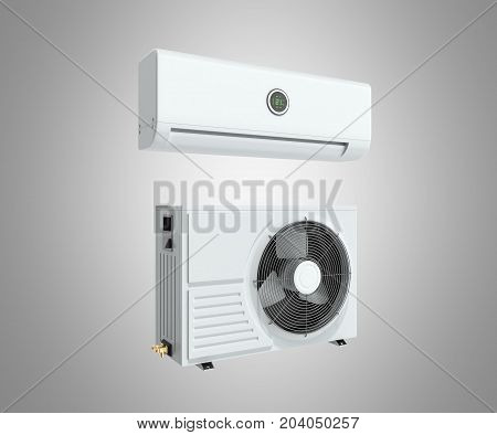 Air Conditioning Unit 3D Render On Grey Background