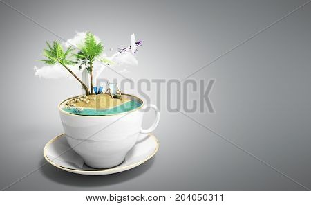 Island In A Cup Of Coffee Concept Of Travel 3D Render On Grey