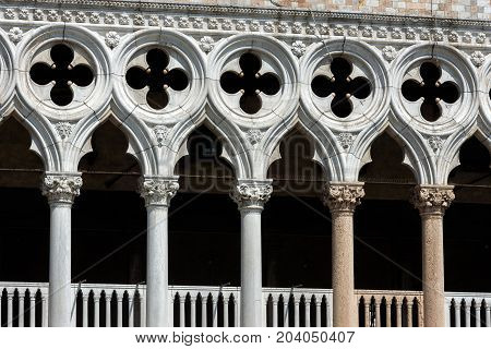 Closeup decoration of the facade of the Doge`s Palace or Palazzo Ducale in Venice, Italy. Dode`s Palace is one of the main tourist destination in Venice.