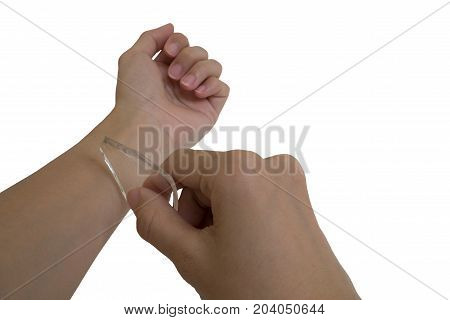 A person is attempt to suicide by using glass trying to cut own hand concept on isolated white background with clipping path