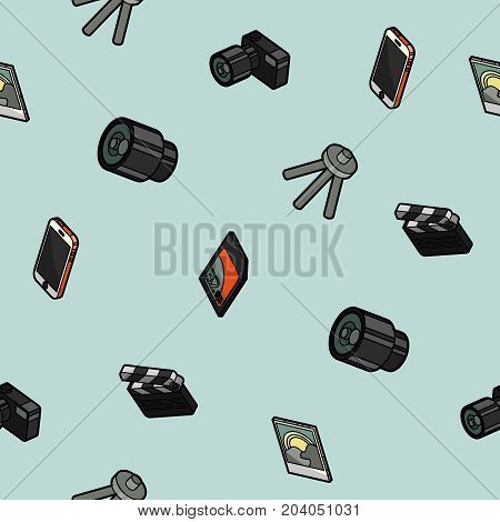 Photo color outline isometric pattern. Vector illustration, EPS 10