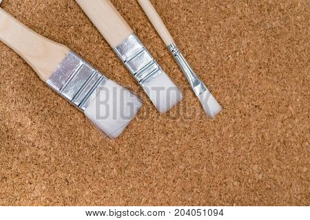 Three Different White Paint Brushes On Cork Board