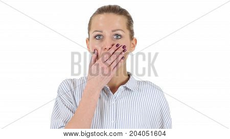 Wondered Businesswoman In Shock Isolated On White Background