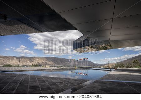 August 1 2016 Quito Ecuador: modern architecture of the UNASUR building which was built on the equator
