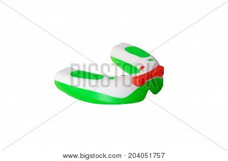 Close-up Isolated Green-red Gum-shield For Protection Athlete's Teeth