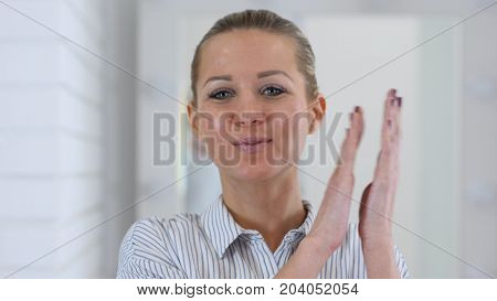 Portrait Of Clapping Woman, Applauding At Work