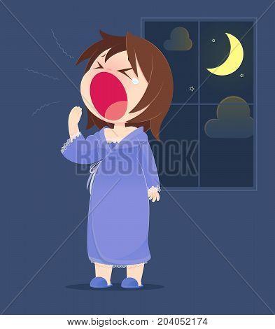 Cartoon Woman In Nightwear Yawning. Concept With Cartoon Design. Vector Illustration