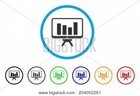 Bar Chart Monitoring icon. Vector illustration style is a flat iconic bar chart monitoring gray rounded symbol inside light blue circle with black, gray, green, blue, red, orange color variants.