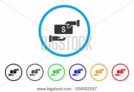Bribe icon. Vector illustration style is a flat iconic bribe grey rounded symbol inside light blue circle with black, gray, green, blue, red, orange color versions.