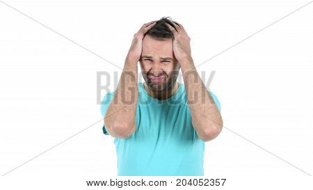 Loss, Failure, Upset Middle Aged Man Isolated On White Background