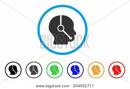 Call Center Operator icon. Vector illustration style is a flat iconic call center operator grey rounded symbol inside light blue circle with black, gray, green, blue, red,