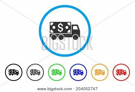 Cash Delivery icon. Vector illustration style is a flat iconic cash delivery gray rounded symbol inside light blue circle with black, gray, green, blue, red, orange color additional versions.