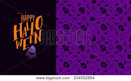 Halloween seamless pattern with Happy Halloween text. Vector background. Ornament for greeting card or takeaway cup. Purple colors