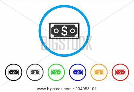 Dollar Banknote icon. Vector illustration style is a flat iconic dollar banknote gray rounded symbol inside light blue circle with black, gray, green, blue, red, orange color additional versions.