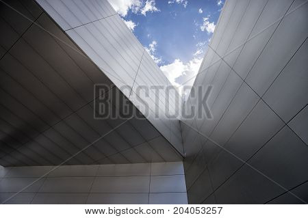 August 1 2016 Quito Ecuador: modern architecture closeup details of the UNASUR building which was built on the equator