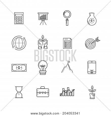 set analytics finance to business corporation strategy vector illustration