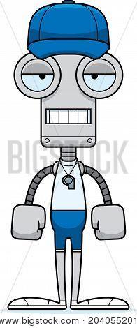 Cartoon Bored Coach Robot