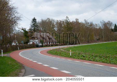 Road And House In Praesto Fjord In Denmark