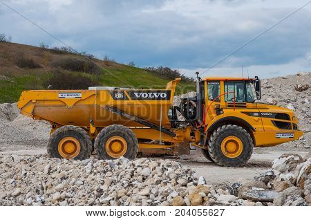 Faxe Denmark - April 16. 2017: A dumper in Faxe limestone quarry