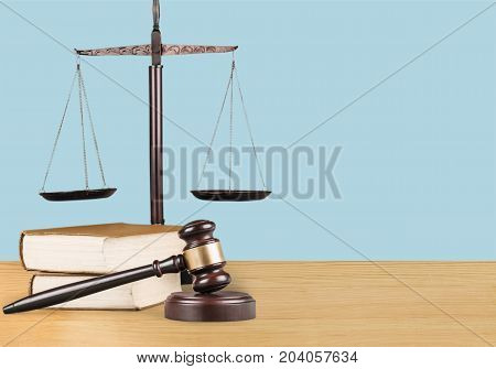 Justice books scales gavel background paper isolated