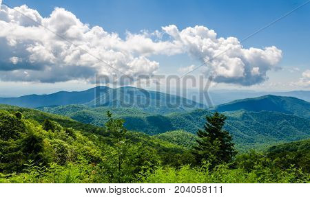 Blue Ridge Mountain, North Carolina, USA. Beautiful landscape mountain scene, view from Blue Ridge Mountain Parkway.  Scenic tourist travel destination location.