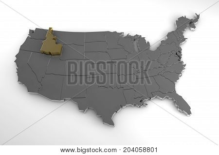 United states of America, 3d metallic map, whith idaho state highlighted. 3d render