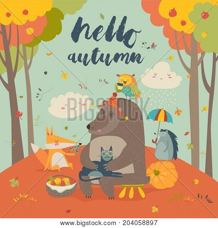 Hello autumn background with cute animals. Vector illustration