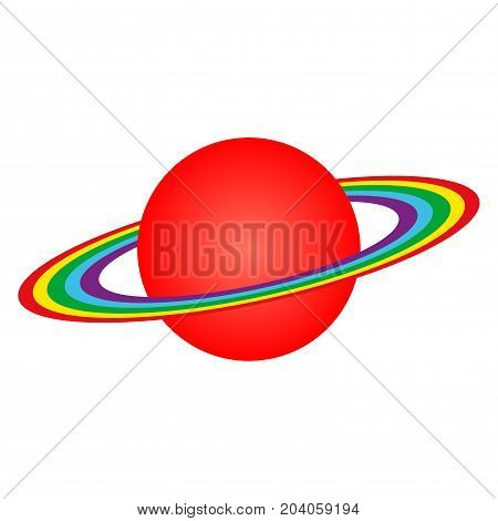 Vector image of the planet Saturn with rings isolated on white background.