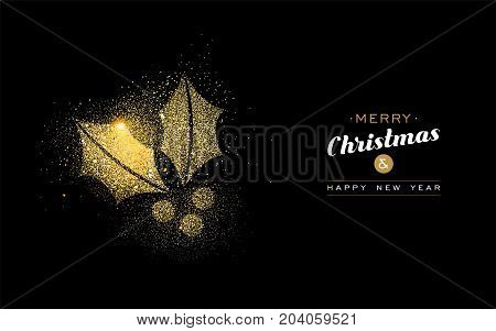 Christmas And New Year Gold Glitter Mistletoe Card