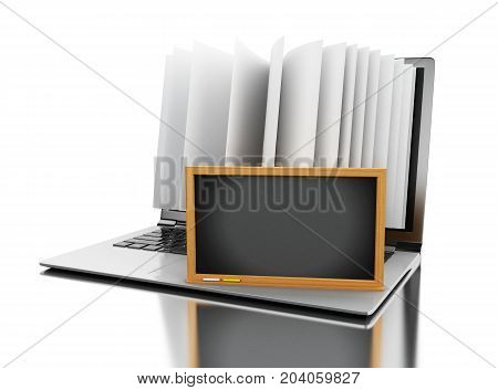 3D Laptop Computer With Book Pages And Empty Blackboard