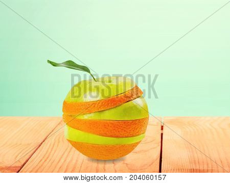 Orange apple stacked slices low calorie natural food low fat