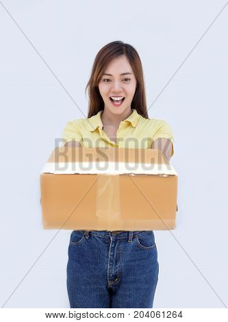 Asian Thai Lady Hold Paper Box Package On White