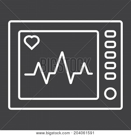 Ecg Machine line icon, medicine and healthcare, heartbeat sign vector graphics, a linear pattern on a black background, eps 10.