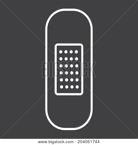Adhesive plaster line icon, medicine and healthcare, bandage sign vector graphics, a linear pattern on a black background, eps 10.