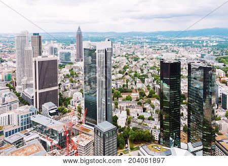 Aerial view at financial district in Frankfurt Germany