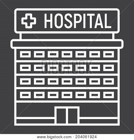 Hospital building line icon, medicine and healthcare, architecture sign vector graphics, a linear pattern on a black background, eps 10.