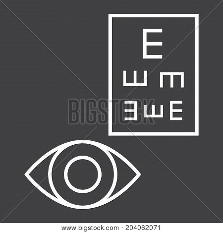 Optometry line icon, medicine and healthcare, eye sign vector graphics, a linear pattern on a black background, eps 10.