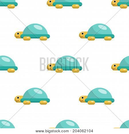 Vector seamless pattern on which are painted the turtle. Childrens cartoon pattern toy turtle isolated on white background